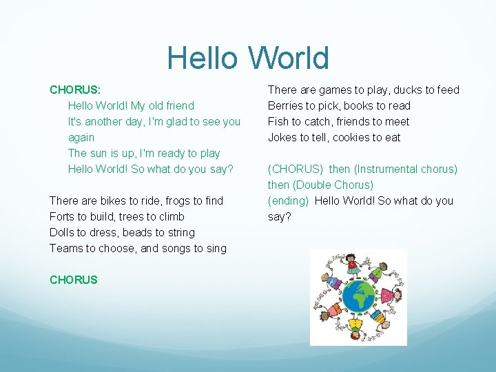 Hello World CHORUS: Hello World! My old friend It's another day, I'm glad to