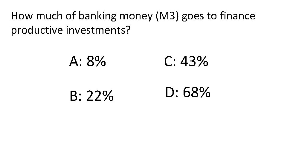 How much of banking money (M 3) goes to finance productive investments? A: 8%