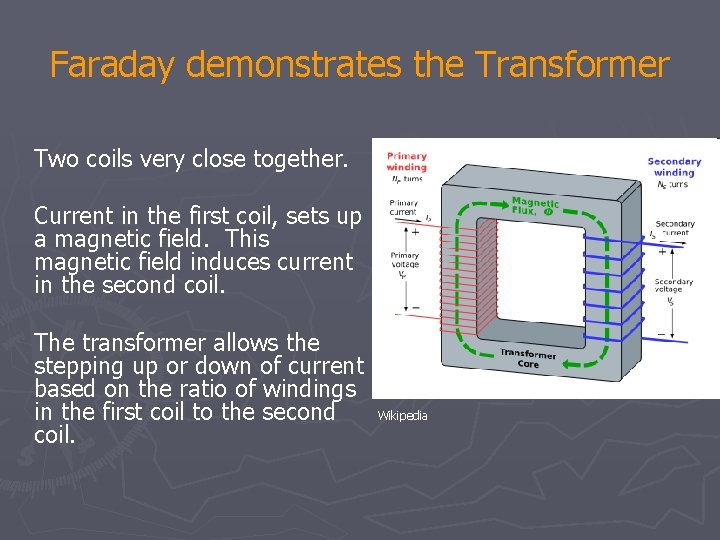 Faraday demonstrates the Transformer Two coils very close together. Current in the first coil,