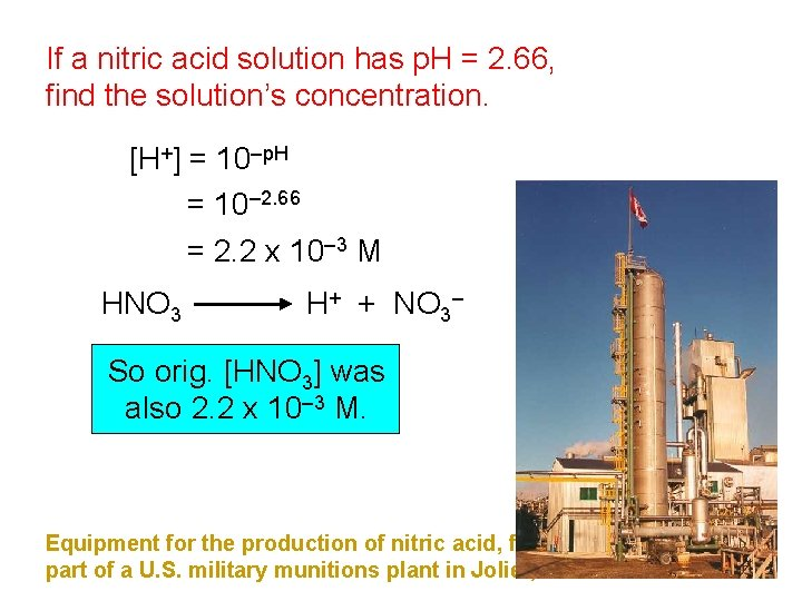 If a nitric acid solution has p. H = 2. 66, find the solution's