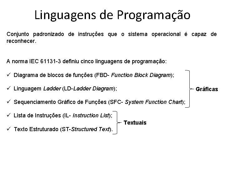 Linguagens de Programação Conjunto padronizado de instruções que o sistema operacional é capaz de