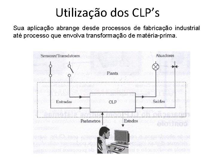 Utilização dos CLP's Sua aplicação abrange desde processos de fabricação industrial até processo que