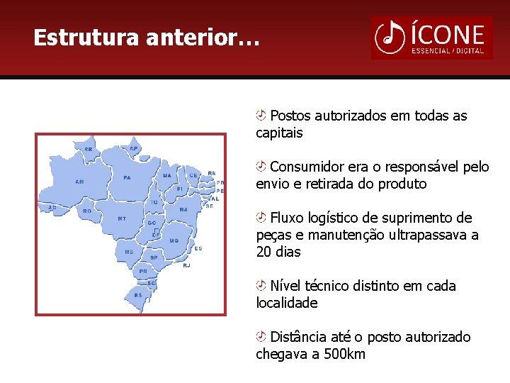 Estrutura anterior… Postos autorizados em todas as capitais Consumidor era o responsável pelo envio