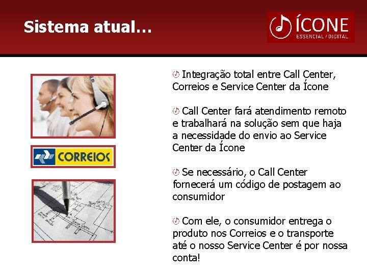 Sistema atual… Integração total entre Call Center, Correios e Service Center da Ícone Call