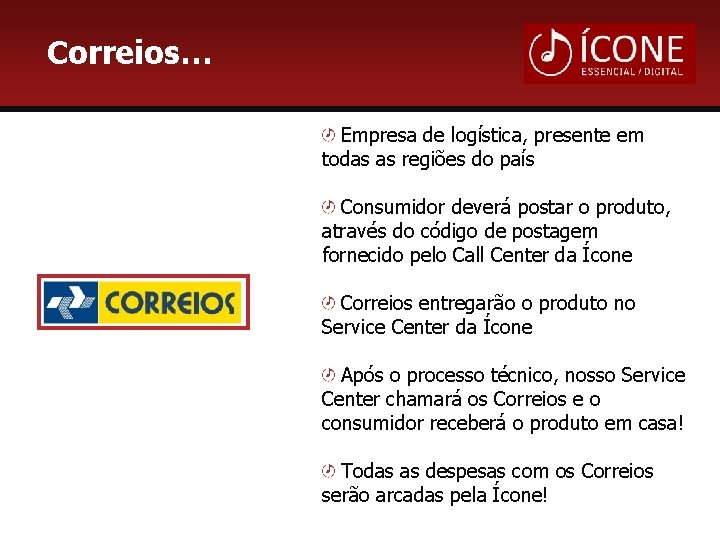 Correios… Empresa de logística, presente em todas as regiões do país Consumidor deverá postar
