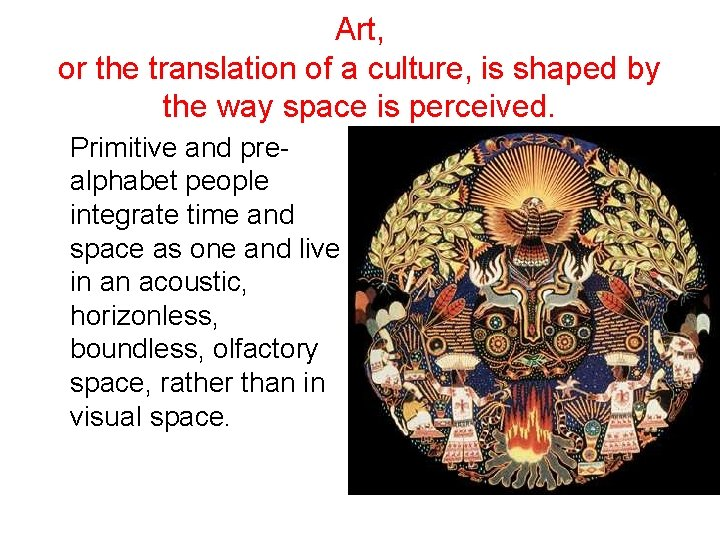 Art, or the translation of a culture, is shaped by the way space is