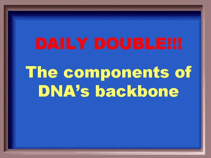 DAILY DOUBLE!!! The components of DNA's backbone