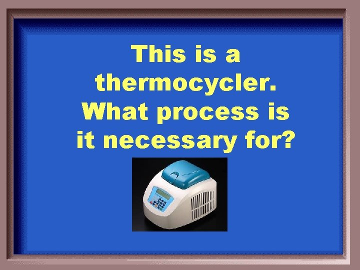 This is a thermocycler. What process is it necessary for?