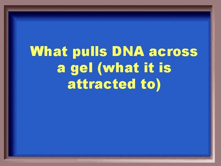 What pulls DNA across a gel (what it is attracted to)