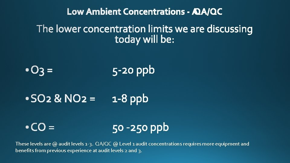 These levels are @ audit levels 1 -3. QA/QC @ Level 1 audit concentrations