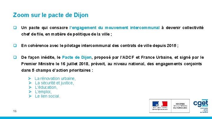 Zoom sur le pacte de Dijon q Un pacte qui consacre l'engagement du mouvement
