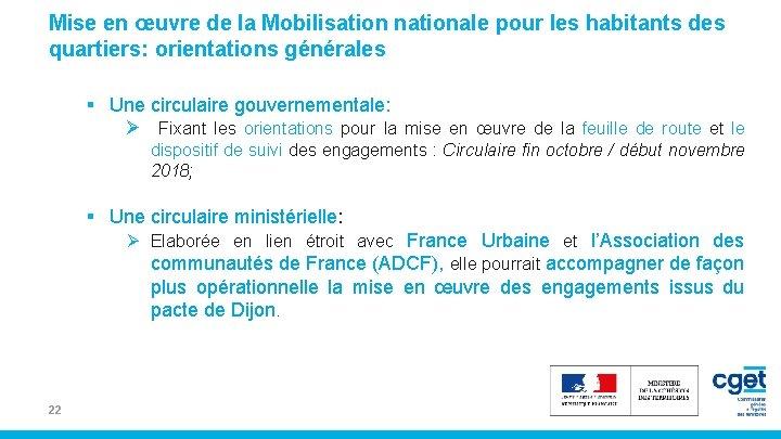 Mise en œuvre de la Mobilisation nationale pour les habitants des quartiers: orientations générales