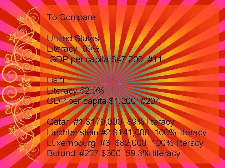 To Compare: United States Literacy 99% GDP per capita $47, 200 #11 Haiti Literacy