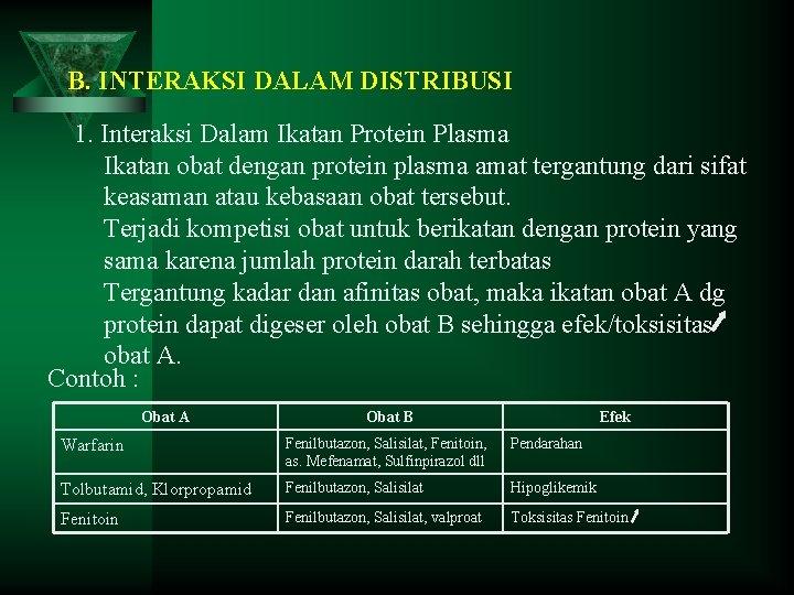 B. INTERAKSI DALAM DISTRIBUSI 1. Interaksi Dalam Ikatan Protein Plasma Ikatan obat dengan protein