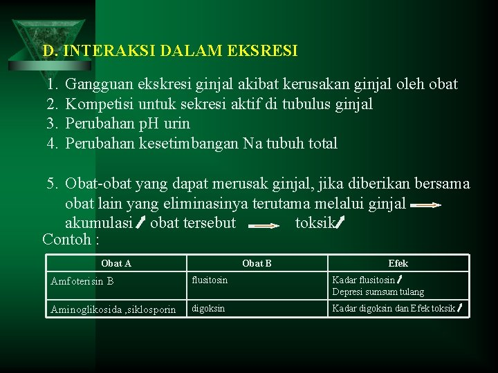 D. INTERAKSI DALAM EKSRESI 1. 2. 3. 4. Gangguan ekskresi ginjal akibat kerusakan ginjal