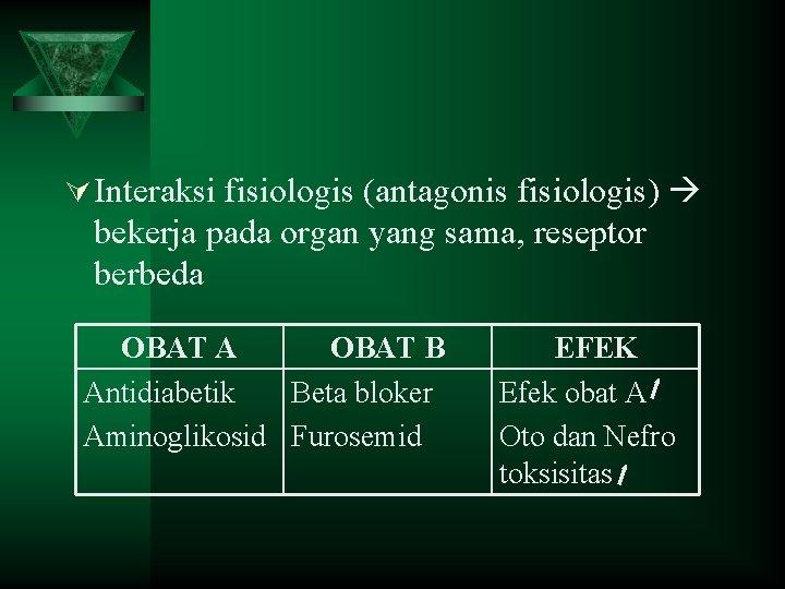 Ú Interaksi fisiologis (antagonis fisiologis) bekerja pada organ yang sama, reseptor berbeda OBAT A