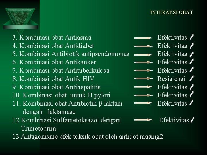 INTERAKSI OBAT 3. Kombinasi obat Antiasma Efektivitas 4. Kombinasi obat Antidiabet Efektivitas 5. Kombinasi