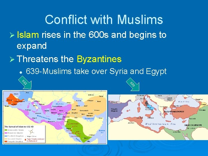 Conflict with Muslims Ø Islam rises in the 600 s and begins to expand