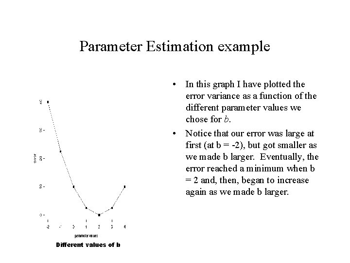 Parameter Estimation example • In this graph I have plotted the error variance as