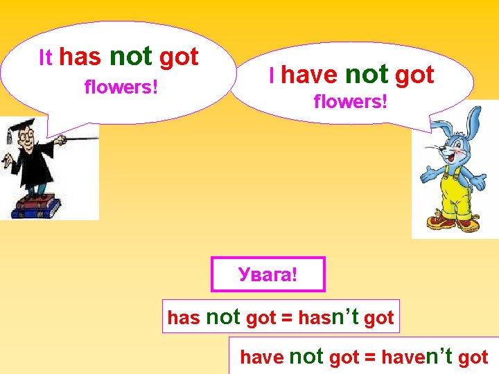It has not got flowers! I have not got flowers! Увага! has not got