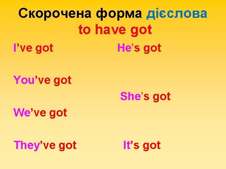 Скорочена форма дієслова to have got I've got He's got You've got She's got