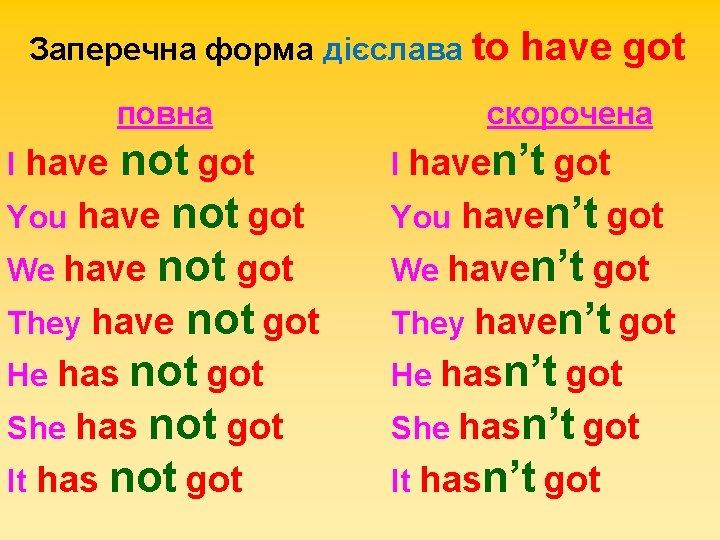 Заперечна форма дієслава to повна not got You have not got We have not