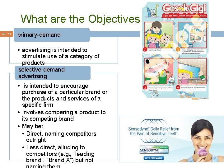 What are the Objectives? 20 - 11 primary-demand • advertising is intended to stimulate