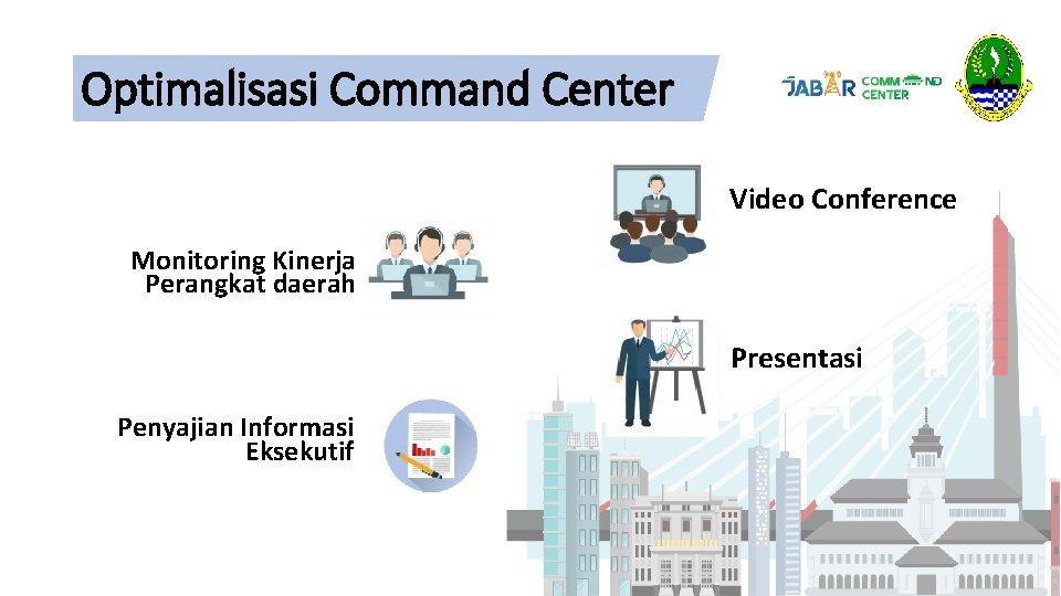 Optimalisasi Command Center Video Conference Monitoring Kinerja Perangkat daerah Presentasi Penyajian Informasi Eksekutif