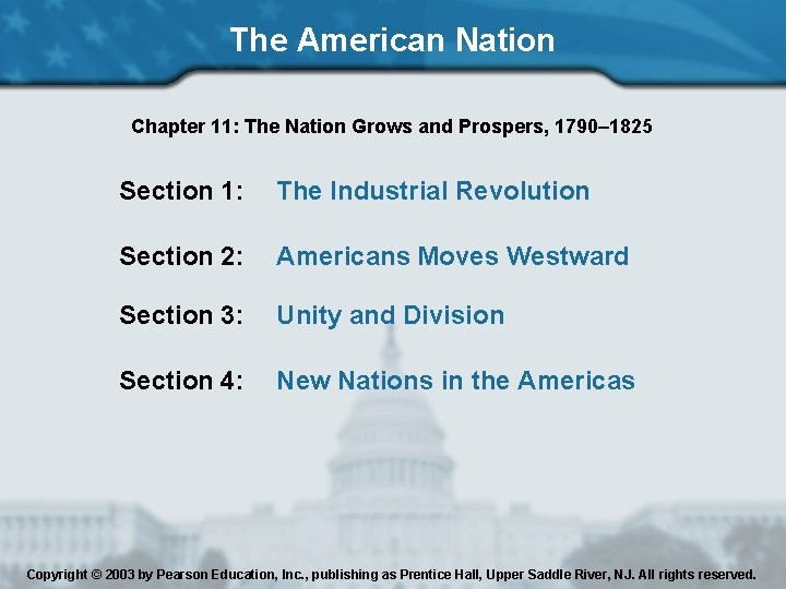 The American Nation Chapter 11: The Nation Grows and Prospers, 1790– 1825 Section 1: