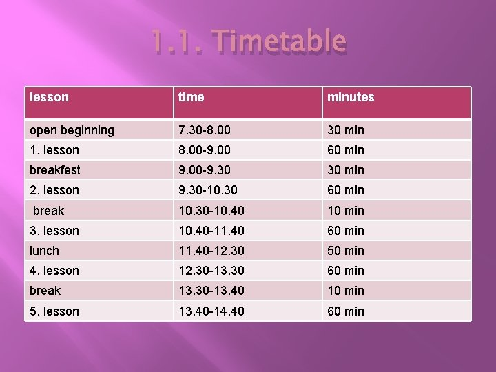 1. 1. Timetable lesson time minutes open beginning 7. 30 -8. 00 30 min