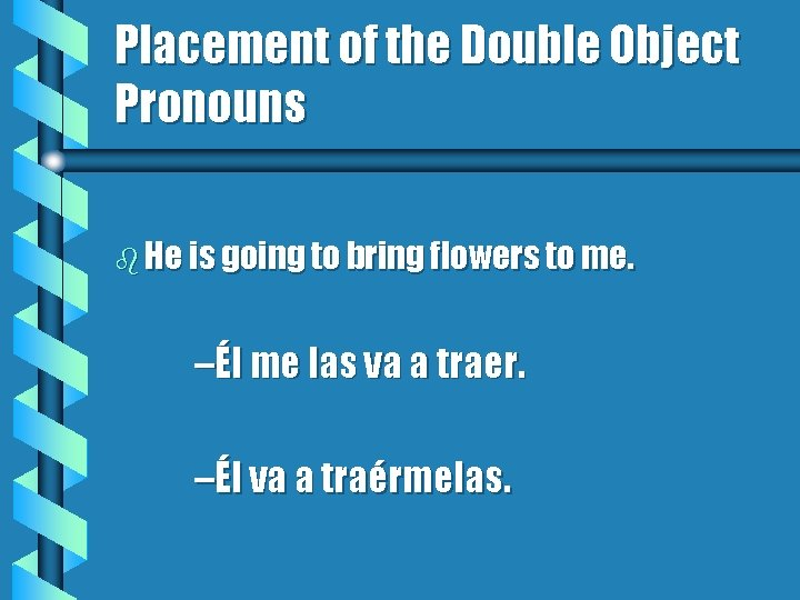 Placement of the Double Object Pronouns b He is going to bring flowers to