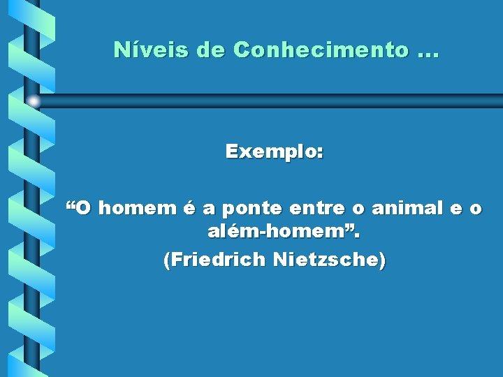 """Níveis de Conhecimento. . . Exemplo: """"O homem é a ponte entre o animal"""