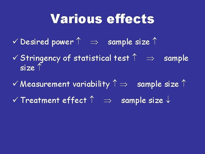 Various effects ü Desired power sample size ü Stringency of statistical test size ü