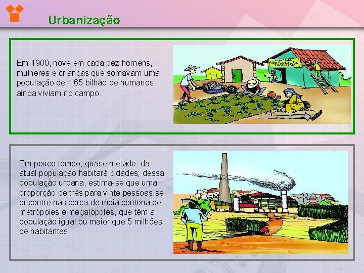 Urbanização Em 1900, nove em cada dez homens, mulheres e crianças que somavam uma