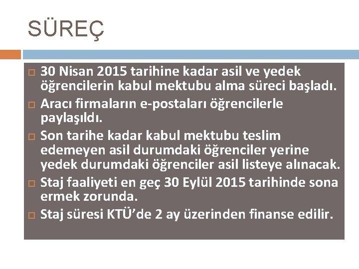 SÜREÇ 30 Nisan 2015 tarihine kadar asil ve yedek öğrencilerin kabul mektubu alma süreci