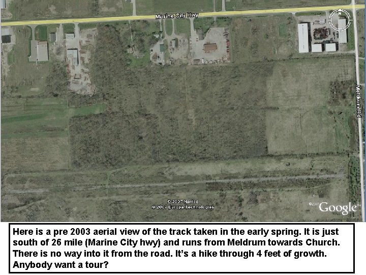 Here is a pre 2003 aerial view of the track taken in the early