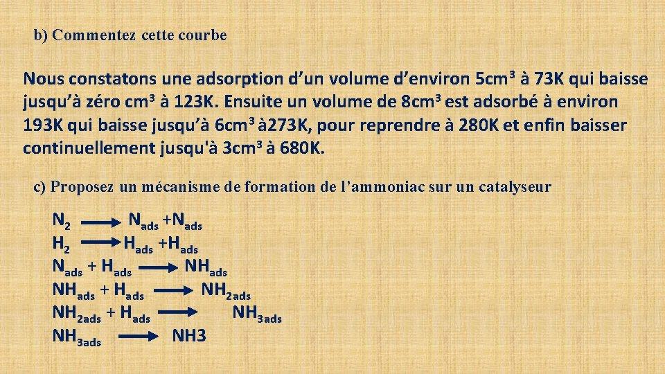 b) Commentez cette courbe Nous constatons une adsorption d'un volume d'environ 5 cm 3