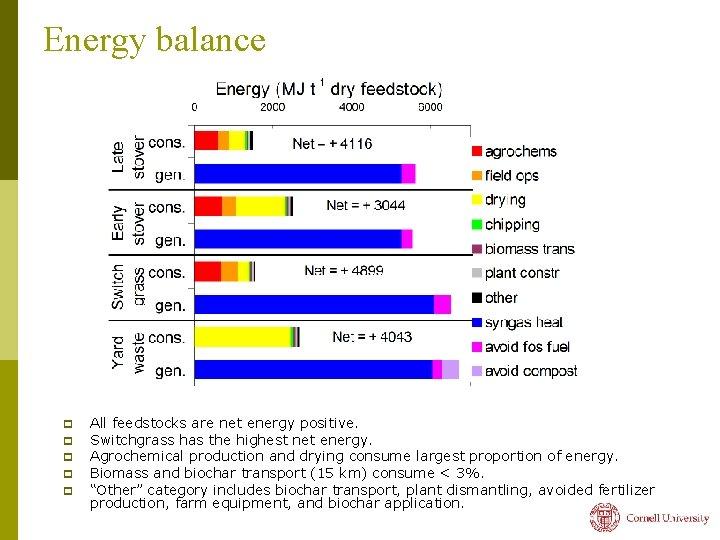 Energy balance p p p All feedstocks are net energy positive. Switchgrass has the