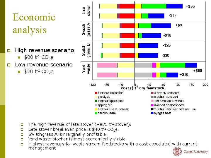 Economic analysis p High revenue scenario $80 t-1 CO 2 e n p Low