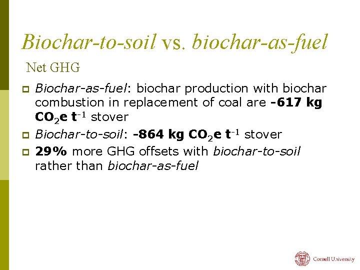 Biochar-to-soil vs. biochar-as-fuel Net GHG p p p Biochar-as-fuel: biochar production with biochar combustion