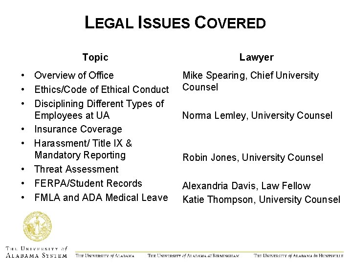 LEGAL ISSUES COVERED Topic • Overview of Office • Ethics/Code of Ethical Conduct •
