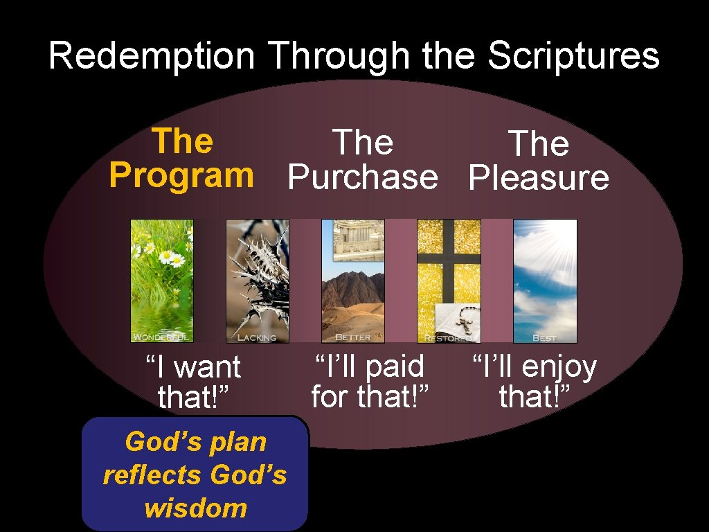 """Redemption Through the Scriptures The The Program Purchase Pleasure """"I want that!"""" God's plan"""