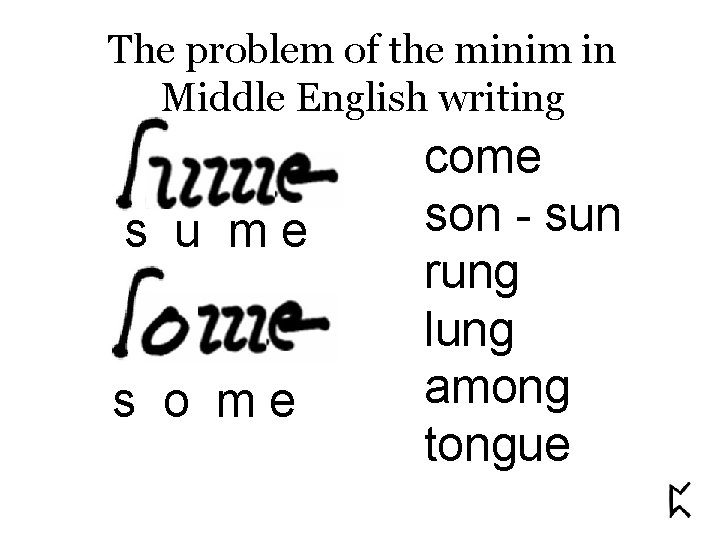 The problem of the minim in Middle English writing s u me s o