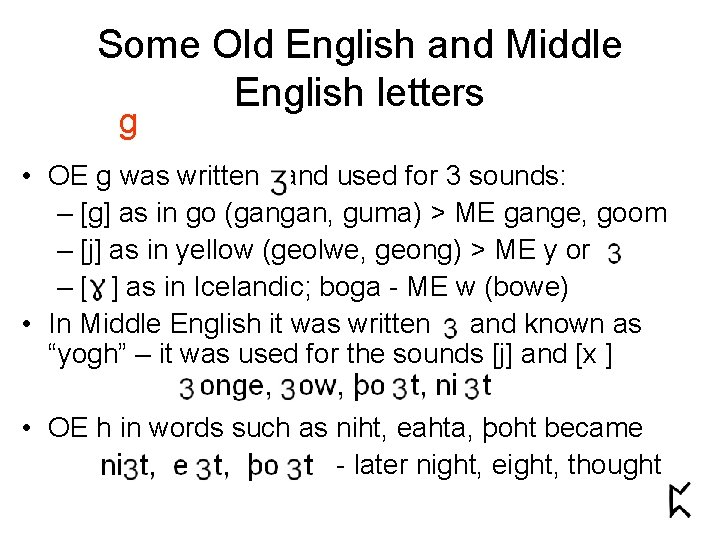Some Old English and Middle English letters g • OE g was written and