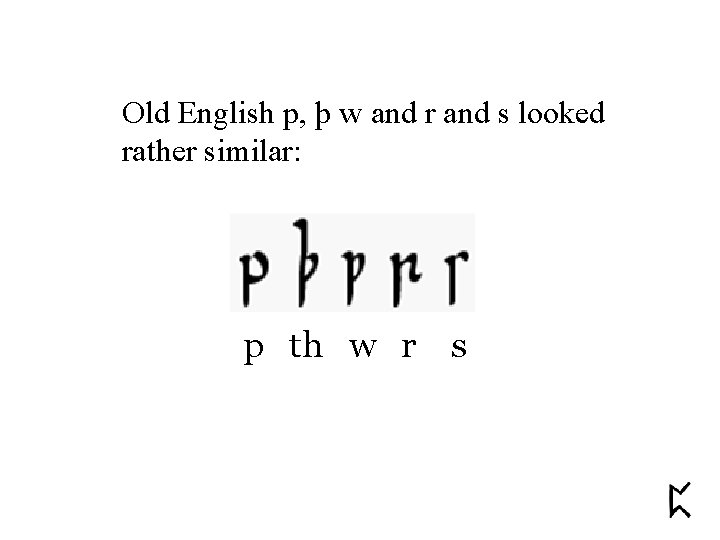 Old English p, þ w and r and s looked rather similar: p th
