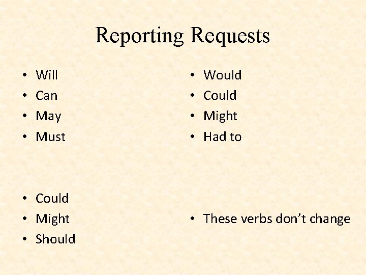 Reporting Requests • • Will Can May Must • Could • Might • Should