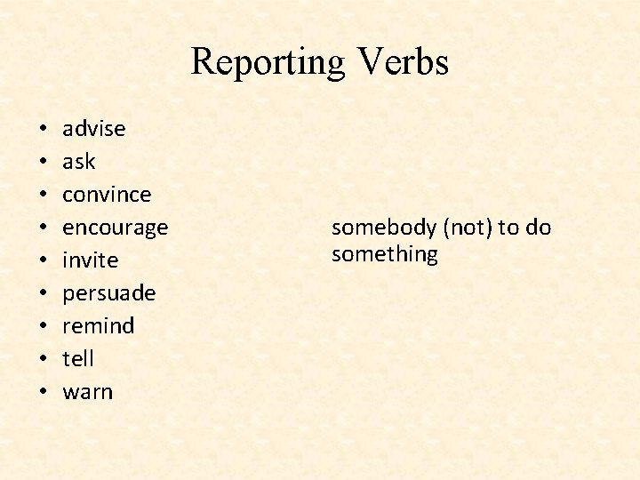 Reporting Verbs • • • advise ask convince encourage invite persuade remind tell warn