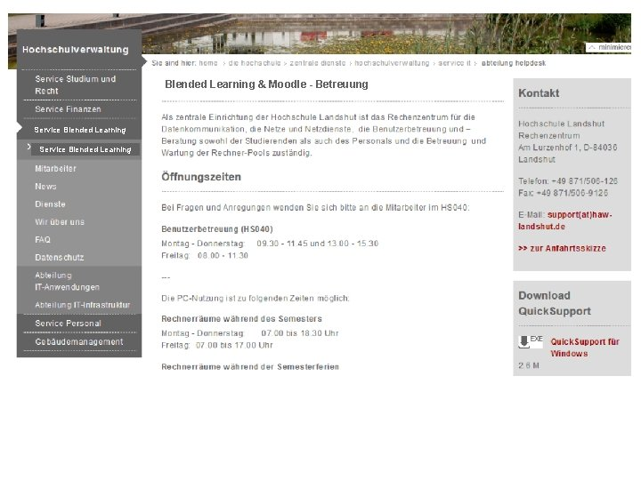 Blended Learning & Moodle - Betreuung Service Blended Learning