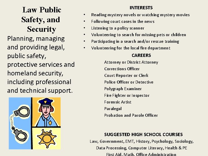 Law Public Safety, and Security Planning, managing and providing legal, public safety, protective services