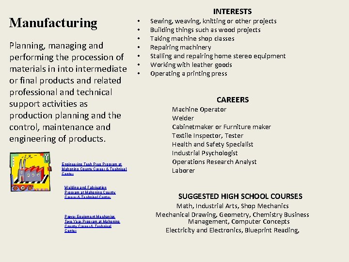Manufacturing Planning, managing and performing the procession of materials in into intermediate or final